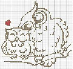 Mom and child owl on branch Cross Stitch Owl, Cross Stitch Animals, Modern Cross Stitch, Cross Stitch Charts, Cross Stitch Designs, Cross Stitching, Cross Stitch Embroidery, Embroidery Patterns, Cross Stitch Patterns