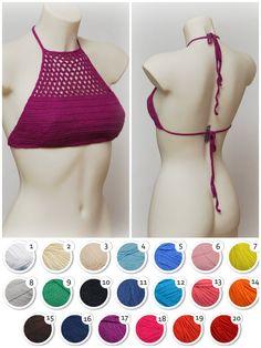 Festival crochet halter crop top. Crochet bikini top. Purple beach top. Halter neck crop. Summer crop top. Sexy festival top.