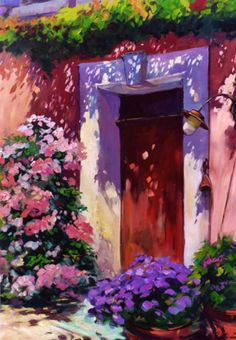 Pink house Landscape Paintings, Watercolor Paintings, Pink Houses, Paintings I Love, Painting Lessons, Painted Doors, Painting Inspiration, Flower Art, Art Gallery