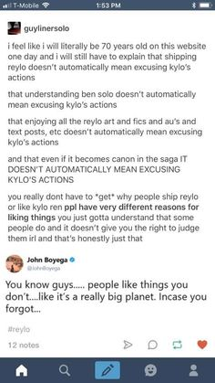 I 1000000% agree. I love Ben Solo and I am absolute trash for Reylo, but that doesn't mean I'm ignoring all the horrible stuff he's done.