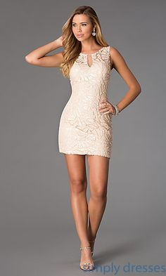 This dazzling Dave and Johnny short cocktail dress is sure to have you looking flawless for your next semi formal event in a beautiful soft champagne hue. The fully sequined lace designer dress has a sleeveless bodice with scoop neck and front keyhole for added interest. The chic backless prom dress hugs your curves and is perfect worn underneath your cap and gown as a short graduation dress.