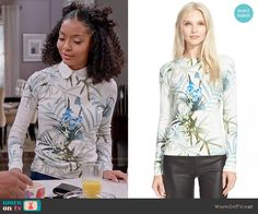 Zoey's leaf print sweater on Black-ish.  Outfit Details: https://wornontv.net/56241/ #Blackish