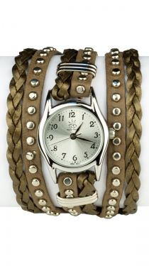 Studded Leather Wrap Watch - Small - Pewter
