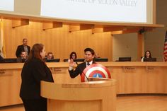 A comic book nerd won a city council seat — and was sworn in holding his Captain America shield