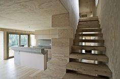wooden floating stairs