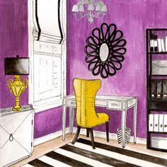 Glamour Girl Office 4x4 Fine Art Print by Eriksdotter