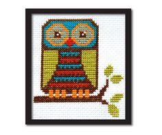 Cute Mod Owl Cross Stitch Pattern Instant by tinymodernist on Etsy, $6.00