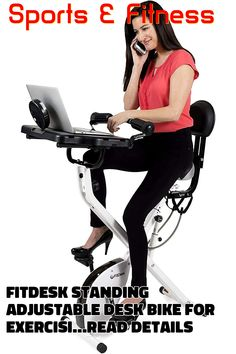 (This is an affiliate pin) FitDesk Standing Adjustable Desk Bike for Exercising for Home Use or Office Bicycle Workout, Adjustable Desk, Tablet Holder, Cardio, Massage, Cycling, Training, Indoor, Exercise