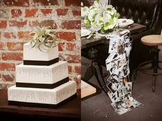 Black and white photos add interest and a touch of personality to the wedding table