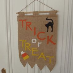 Trick or Treat Door Banner for Halloween from FeistyFarmersWife