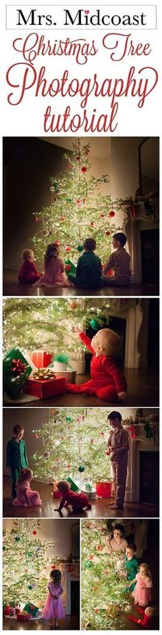 How to take Pictures of you children by the Christmas tree in christmas pajamas photography tutorial #photographytutorials