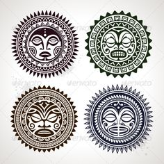 Vectors - Polynesian Tattoo Styled Masks | GraphicRiver
