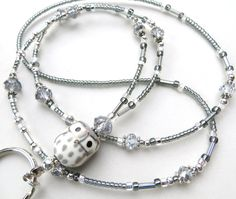 great grey owl beaded id lanyard and badge holder {no tutorial} Magnetic Necklace, Lanyard Necklace, Beaded Jewelry, Handmade Jewelry, Beaded Necklace, Silver Jewelry, Necklaces, Jewelry Accessories, Jewelry Design