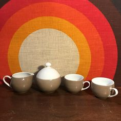 Vintage Mikasa Pivotal by Ben Seibel, Four Piece Tea / Coffee Serving Set, Mid Century Dinnerware, Covered Sugar Bowl, Creamer, Two Tea Cups by CapeCodModern on Etsy