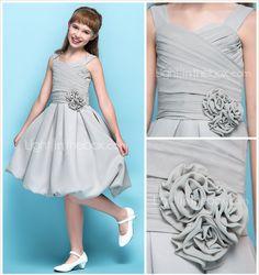 A-line Straps Knee-length Chiffon Junior Bridesmaid Dress (734035) - USD $ 79.99