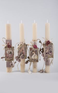 Wedding Unity Candles, Pillar Candles, Shabby Chic Candle, Candle Art, Flower Phone Wallpaper, Palm Sunday, Candle Making, Holidays And Events, Easter Crafts
