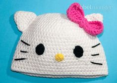 Bonnet Crochet - Chat Kitty - Instructions - New Ideas Crochet Hello Kitty, Chat Hello Kitty, Hello Kitty Images, Bonnet Crochet, Crochet Beanie Hat, Crochet Baby Hat Patterns, Crochet Baby Hats, Crochet Character Hats, Knit Hat For Men