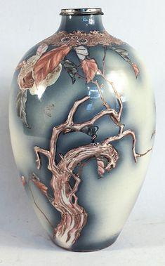 "Antique Japanese Satsuma Vase - very good condition H17"" W11"""