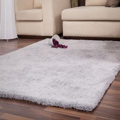 Cyprus Nikosia Silver Plain Shaggy Rug by Kayoom Shaggy Rug, Polyester Rugs, Cyprus, Living Spaces, Living Room, Interior Decorating, Designer Rugs, Simple, Modern