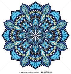 Vector, elegant mandala, with intricate detail. Stained glass in blue colors. Oriental element of decor.