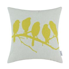 "Euphoria Home Decor Cushion Covers Pillows Shell Cotton Linen Blend Shadow Birds in Tree Branch Yellow Color 18"" X 18"" Euphoria http://www.amazon.com/dp/B00ORZ8ZEM/ref=cm_sw_r_pi_dp_ZxwTwb09394NB"