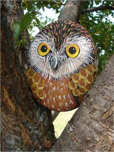 Little Wood Owl hand-painted rock