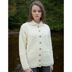 Like the honeycomb band at bottom and like how the collar is done. Aran Extra Soft Merino Wool Ladies Cardigan
