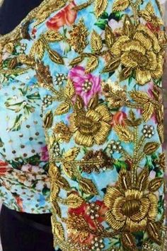 Floral Blouse with Zardosi Work - Saree Blouse Patterns Saree Blouse Patterns, Dress Neck Designs, Fancy Blouse Designs, Bridal Blouse Designs, Saree Blouse Designs, Sleeve Designs, Sari Blouse, Zardozi Embroidery, Hand Work Embroidery