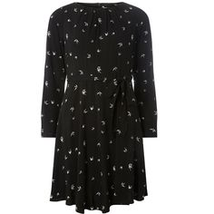 Dorothy Perkins Billie Petite Swallow Viscose Dress (2.785 RUB) via Polyvore featuring dresses, women dresses, fit and flare cocktail dress, evening cocktail dresses, fit-and-flare dresses, viscose dresses и special occasion dresses