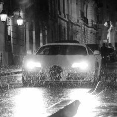 Breathtaking shot of a Bugatti Veyron in the rain