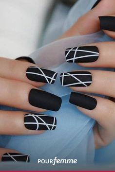 Elegant Nail Designs, Elegant Nails, Fall Nail Designs, Stylish Nails, Black Nail Designs, Cute Nails, Pretty Nails, Nails Kylie Jenner, Milky Nails