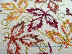Falling Leaves. Free DMC pattern, download here http://www.dmc-usa.com/mjRS/1/doc/US_freedesigns/Color_Variations_Free_Designs/Falling_Leaves.pdf  #cross stitch#@Af's 24/4/13