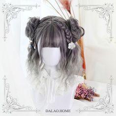 Japanese Harajuku Gradient Dark Grey Mix Silver Short Wig - New Site Kawaii Hairstyles, Pretty Hairstyles, Braided Hairstyles, Cosplay Hair, Cosplay Wigs, Anime Cosplay, Kawaii Wigs, Androgynous Haircut, Lolita Hair
