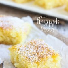 These Pineapple Bars are BEYOND amazing! They are so light and full of flavor, every bite will have your mouth singing! These Pineapple Bars are light and full of crushed pineapple. Our favorite pineapple dessert recipe! Smores Dessert, Dessert Bars, Just Desserts, Delicious Desserts, Easter Desserts, Thanksgiving Desserts, Baking Recipes, Cookie Recipes, Pineapple Dessert Recipes