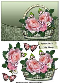 Basket With Roses on Craftsuprint designed by Marijke Kok - Beautiful design with a pretty basket with butterflies and roses.for any occasion! - Now available for download!