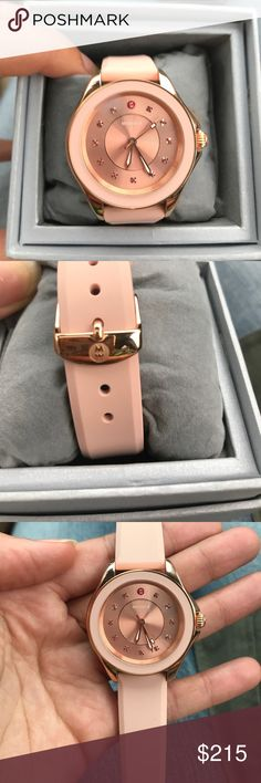 Michele light pink watch Pink and rosegold watch. Silicone rubber. 40mm , topaz gemstones. Band is 18 mm . Watch has never worn, new with tags. Comes with box and warranty slip. Michele Accessories Watches