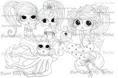 INSTANT DOWMLOAD Digital Digi Stamps Big Eye Big Head Dolls Digi  My Besties Mermaid Girl Friends By Sherri Baldy