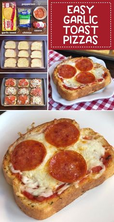 Quick & Easy Family Dinner Recipe: Garlic Toast Pizzas (kids love these!) - Easy Dinner Recipes - Looking for easy and cheap dinner recipes for the family with kids? These simple garlic toast pizza - Toast Pizza, Pizza Pizza, Kids Pizza, Pizza Snacks, Bagel Pizza, Pizza Cheese, Pizza Muffins, Cheese Toast, Pizza Food