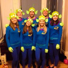 Pin for Later: 59 Creative Homemade Group Costume Ideas Aliens From Toy Story Put together a bright blue top and bottom, and DIY a bright green headpiece complete with three eyes.