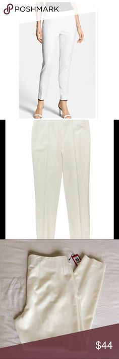 """Vince Camuto front seams side zipper Brand new with tags. Never worn. Machine washable (genius). Rayon nylon spandex blend. Front seam, flush side zipper. Style number 9199392 color 140 vanilla. White pants slacks trousers or ivory as keywords. Waist 34"""" Length 28"""" Vince Camuto Pants Trousers"""