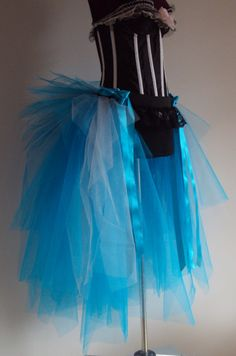 Turquoise Peacock Blue Silver Burlesque Tutu by thetutustoreuk