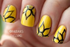Very Easy Yellow Nail Art Designs & Ideas 2013/ 2014 For Beginners & Learners