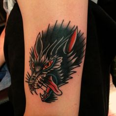tattoo old school / traditional ink - wolf (by Nick O.)