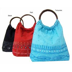 Handmade Indian Beaded Cotton Handbag with Wooden Handles (India) - Overstock™ Shopping - Top Rated Tote Bags