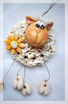 Salt Dough Easter Sheep by Anna Palka Salt Dough Christmas Ornaments, Clay Ornaments, How To Make Ornaments, Homemade Ornaments, Clay Art Projects, Clay Crafts, Easter Crafts, Christmas Crafts, Felt Christmas