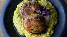 Yotam Ottolenghi's spiced chickpea patties with coconut and curry leaf paste: 'Lovely with fried shallots sprinkled on top. Yotam Ottolenghi, Ottolenghi Recipes, Vegetarian Curry, Vegetarian Recipes, Cooking Recipes, Curry Recipes, Vegetable Recipes, Chickpea Patties, Dinner Games