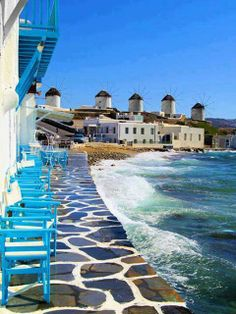 Greece: Mykonos: Little Venice/Windmills. (I am going to have to try to duplicate this photo!) Lying at the heart of the Eagean Sea, Mykonos is one of the most inviting islands of Greece. Vacation Destinations, Dream Vacations, Vacation Spots, Vacation Places, Wonderful Places, Beautiful Places, Amazing Places, Beautiful People, Places To Travel