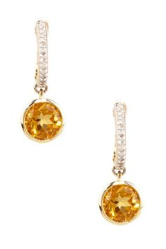 Bijoux Couture 14k Yellow Gold Diamond and Citrine Dangle Earrings