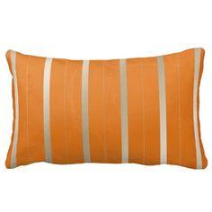 Orange and Silver Stripes Throw Pillow