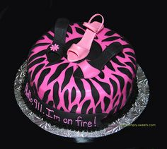 fondant high heel template | pink and black zebra with 3 sugar high heel shoe bachelorette cake